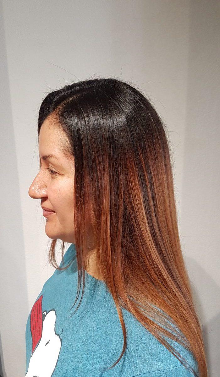 Kundenbeispiel Ergebnis nach der Keratin Haarglättung