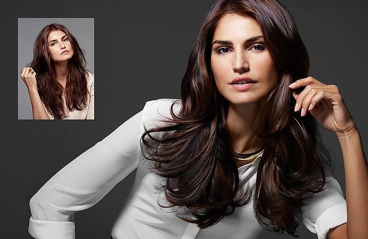Vorher-& Nachherbild der Keratin Haarglättung im Haar-Atelier